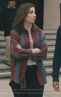 Sammi's maroon striped shirt on Light as a Feather