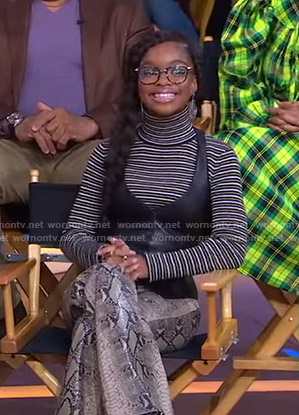 Marsai Martin's striped turtleneck sweater and snakeskin pants on Good Morning America