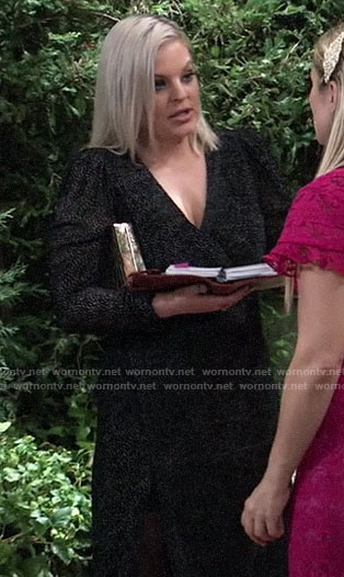 Maxie's black dotted dress at Nina's wedding on General Hospital