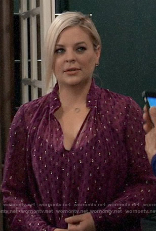 Maxie's pink metallic dotted top on General Hospital