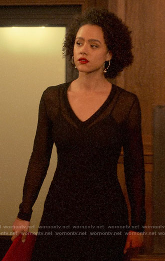 Maya's sheer black v-neck dress on Four Weddings and a Funeral