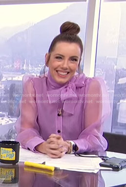 Melanie's lilac tie neck blouse on E! News Daily Pop
