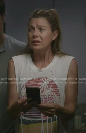 Meredith's white Tulum print tank top on Greys Anatomy