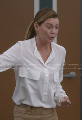 Meredith's white blouse with front pockets on Greys Anatomy