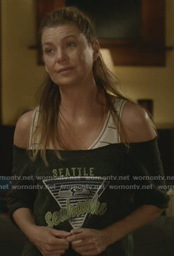Meredith's white striped tank top on Greys Anatomy