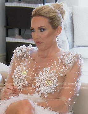 Braunwyn's pearl embellished mesh bodysuit on The Real Housewives of Orange County