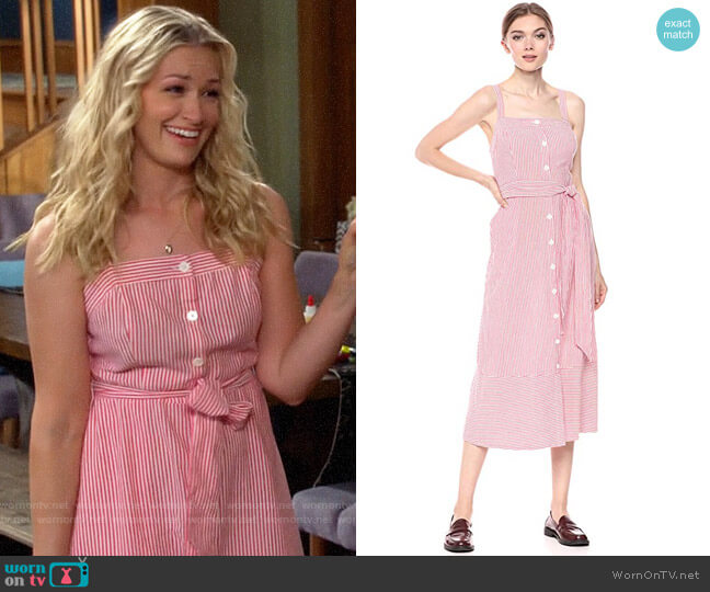 Michael Stars Raina Stripe Button Front Dress worn by Gemma (Beth Behrs) on The Neighborhood