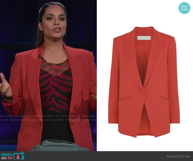 Michelle Mason Stretch-crepe blazer worn by Lilly Singh  on A Little Late with Lilly Singh