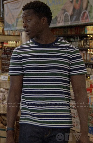 Miles's green and navy striped t-shirt on God Friended Me