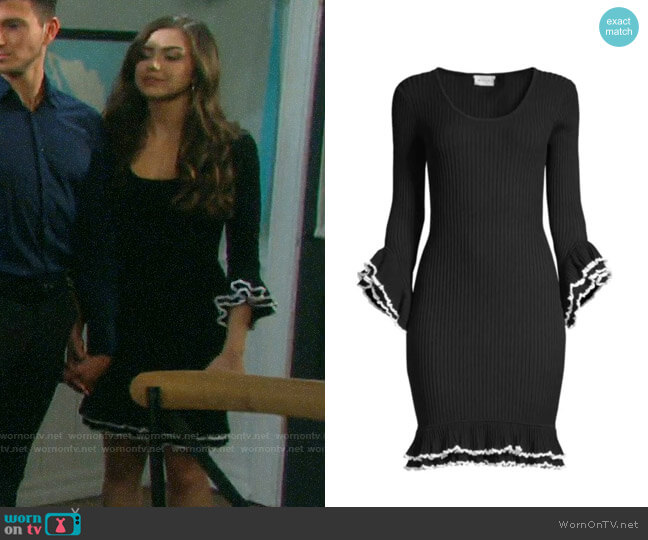 Milly Contrast Ruffle Dress worn by Ciara Brady (Victoria Konefal) on Days of our Lives
