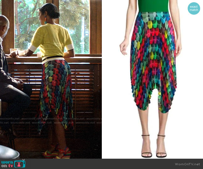 Milly Pleated Geo Print Skirt worn by Ali Finer (Javicia Leslie) on God Friended Me