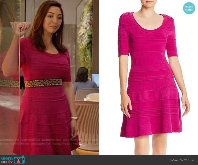 Milly Mixed-Knit Fit and Flare Dress worn by Parker (Francesca Ling) on God Friended Me