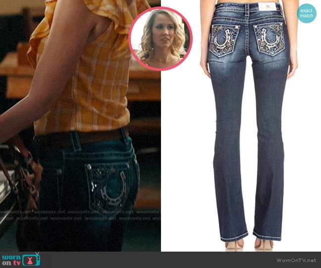 Miss Me Lucky Solstice Bootcut Jeans worn by Ginny (Anna Camp) on Perfect Harmony