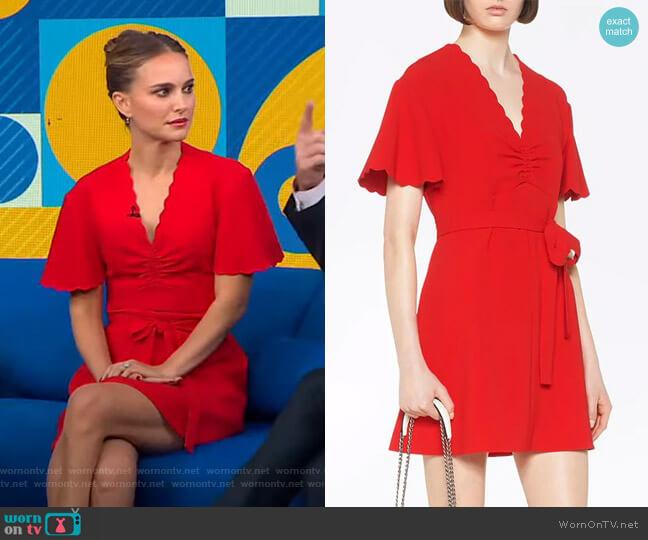 Faille cady dress by Miu Miu worn by Natalie Portman on GMA