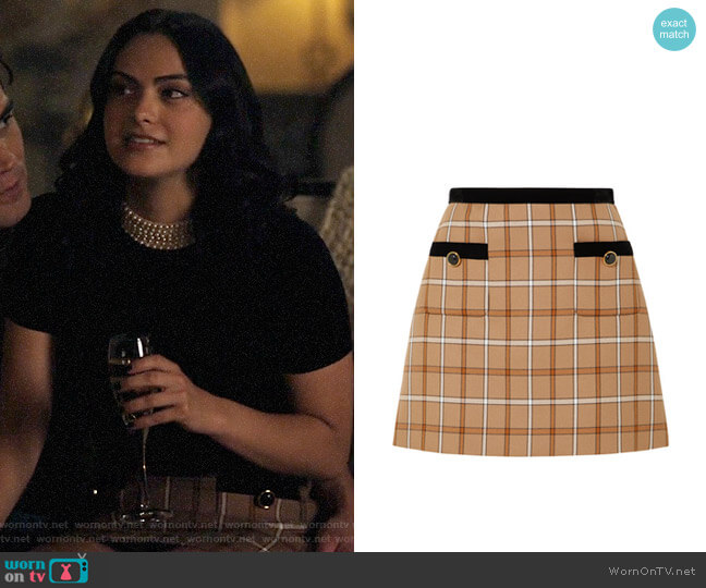 Miu Miu Velvet-trimmed checked woven mini skirt worn by Veronica Lodge (Camila Mendes) on Riverdale