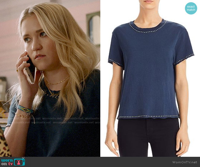 Monrow Studded Crewneck Tee worn by Roxy Doyle (Emily Osment) on Almost Family