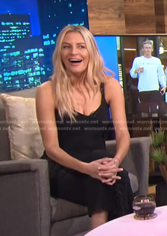 Morgan's black feather-trim camisole on E! News Nightly Pop