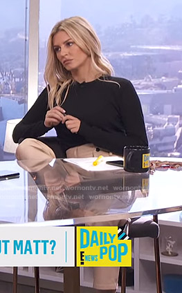 Morgan's beige cropped leather pants on E! News Daily Pop