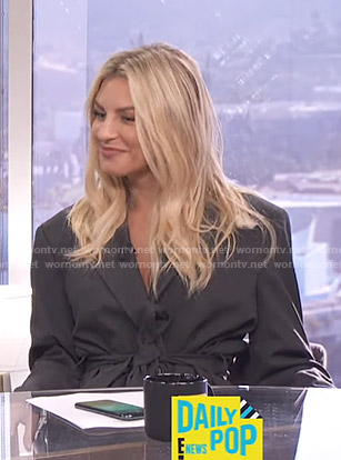 Morgan's dark grey belted blazer on E! News Daily Pop