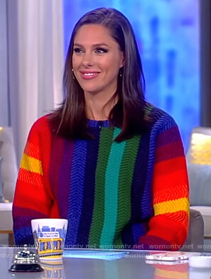 Abby's multicolored striped sweater on The View