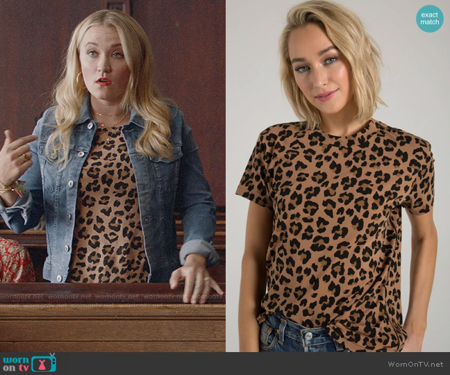 n:Philanthropy Shanghai Tee in Leopard worn by Roxy Doyle (Emily Osment) on Almost Family