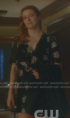 Nancy's black floral v-neck dress on Nancy Drew