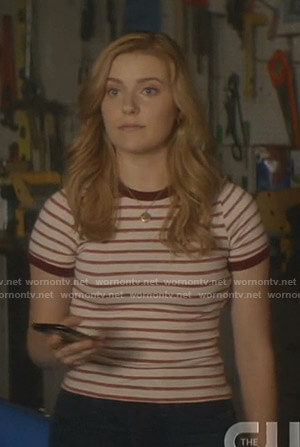 Nancy's white and red striped ringer tee on Nancy Drew