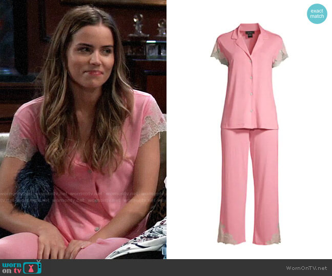 Natori 2-PieceLux Shangrila Pajama Set worn by Sasha Gilmore (Sofia Mattsson) on General Hospital