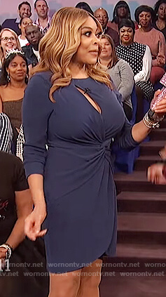 Wendy's navy cutout wrap dress on The Wendy Williams Show