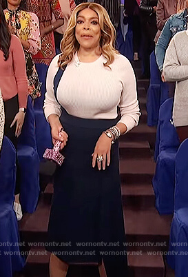 Wendy's two-tone ribbed sweater and skirt on The Wendy Williams Show