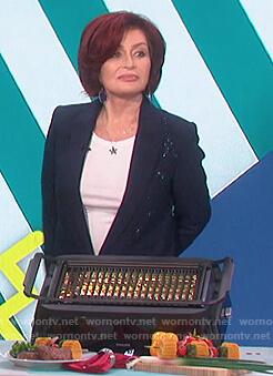 Sharon's blue star embellished blazer on The Talk