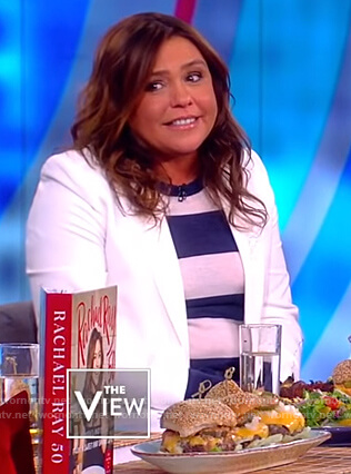 Rachael Ray's white blazer and striped sweater on The View
