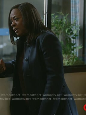 Annalise's navy coat with studded belt on How to Get Away with Murder