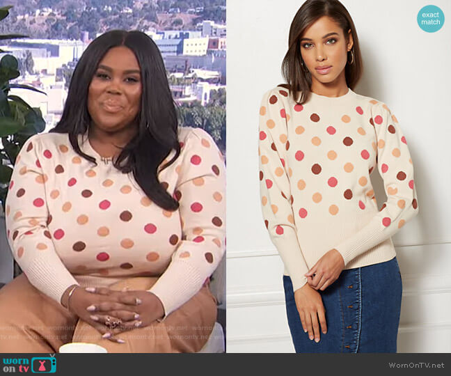 Polka Dot Sweater - Eva Mendes Collection by New York & Company worn by Nina Parker  on E! News