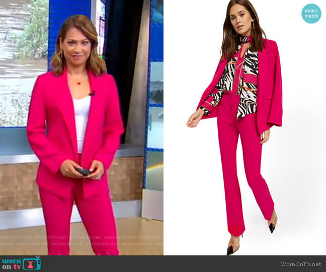 Soft Madie Blazer and Barely Bootcut Pant - 7th Avenue by New York & Company worn by Ginger Zee  on Good Morning America