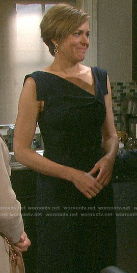 Nicole's navy draped neck dress on Days of our Lives