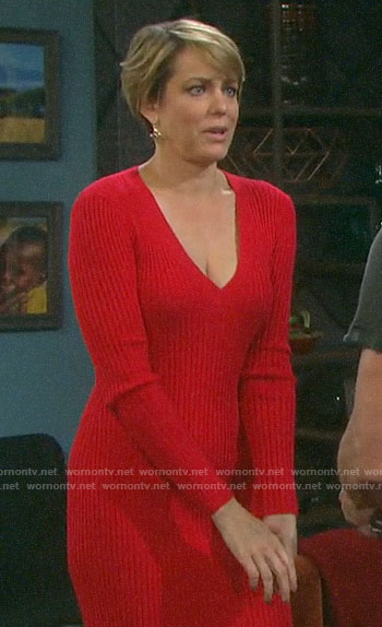 Nicole's red sweater dress on Days of our Lives