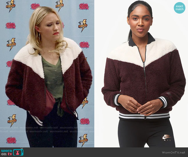 Nike Burgundy Crush/Desert Sand Sherpa Bomber worn by Roxy Doyle (Emily Osment) on Almost Family