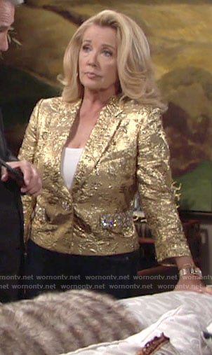 Nikki's gold jacket on The Young and the Restless