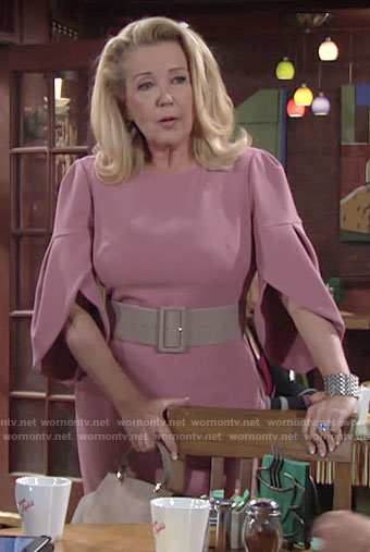 Nikki's pink tulip sleeve dress on The Young and the Restless