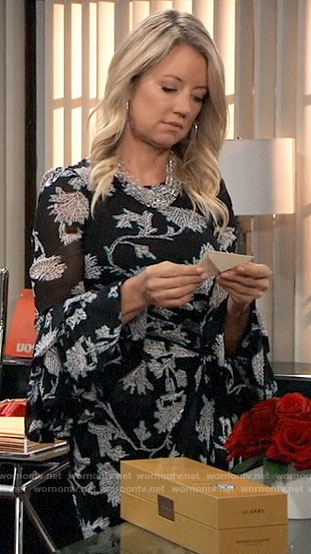 Nina's floral bell sleeve dress on General Hospital