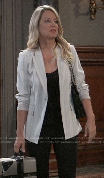 Nina's white striped blazer on General Hospital