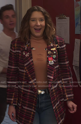 Nonnie's pink plaid oversized jacket on Insatiable