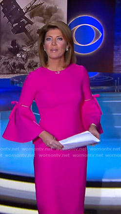 Norah's pink bell sleeve dress on CBS Evening News