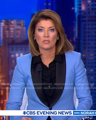 Norah's blue contrast blazer on CBS Evening News