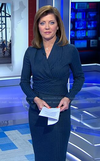 Norah's blue herringbone wrap top and skirt on CBS Evening News
