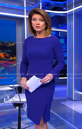 Norah's blue side slit sheath dress on CBS Evening News