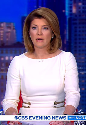 Norah's white grommet waist dress on CBS Evening News