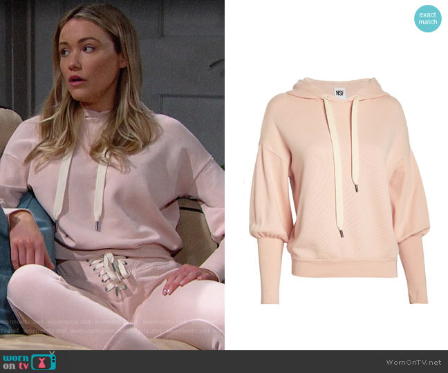 NSF Isabel French Terry Hoodie worn by Florence (Katrina Bowden) on The Bold & the Beautiful