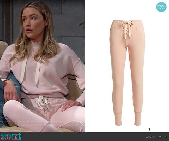 NSF Maddox Lace-Up Sweatpants worn by Florence (Katrina Bowden) on The Bold & the Beautiful